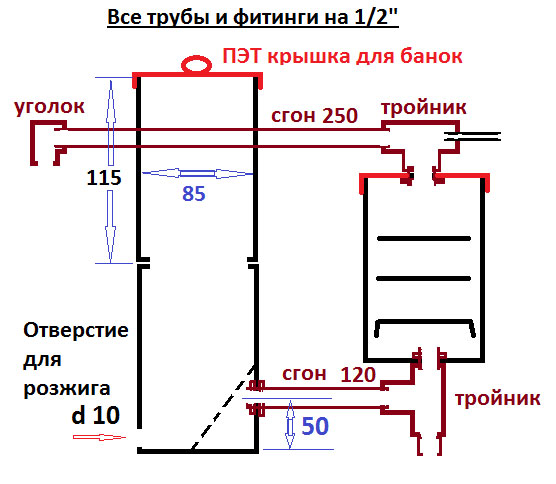 схема чертеж дымогенератора для коптильни